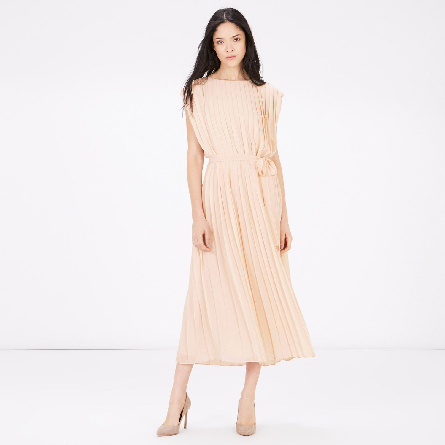 Warehouse, PLEATED BELTED DRESS CRM 3