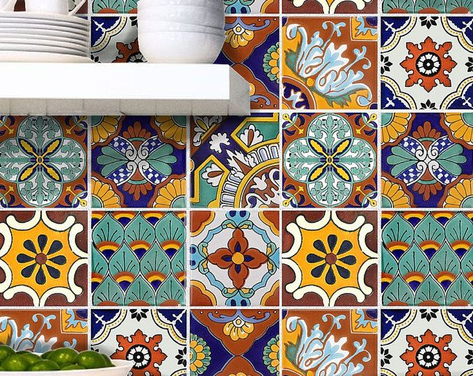 Tile stickers vinyl decal waterproof removable for kitchen for Azulejos para cocina mexico