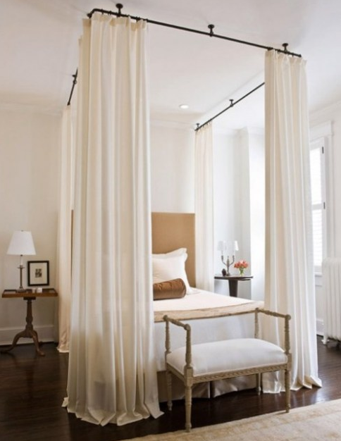 Instead Of Being Mounted On A Canopy Bed These Curtains Look Great Hung From The Ceiling