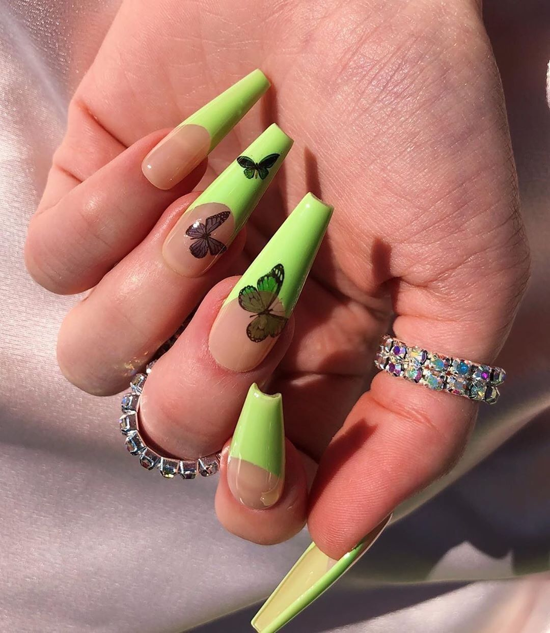 Butterflies In 2020 Green Nails Green Acrylic Nails Neon Green Nails