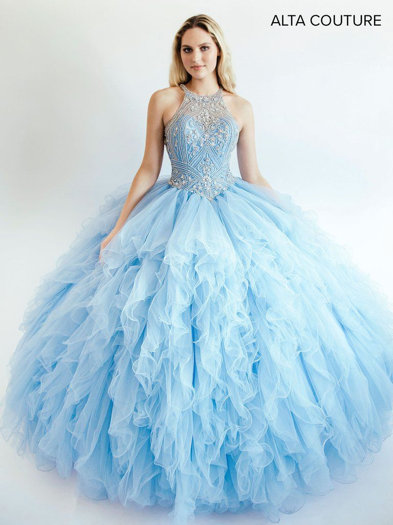 Ruffled Halter Quinceanera Dress by Alta Couture MQ3008 | Couture ...