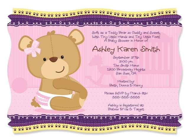 20 Teddy Bear Theme Party Invites Baby Shower Invitations Baby Girl