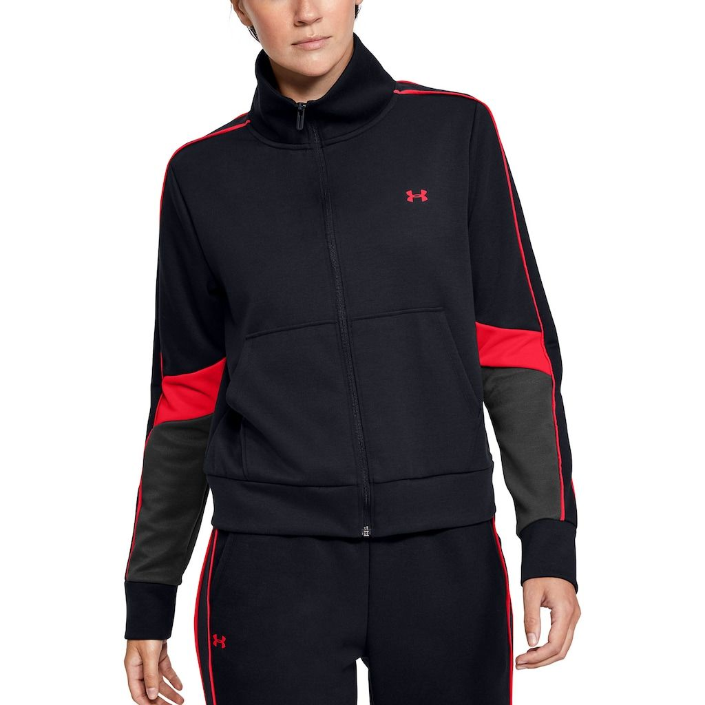 Photo of Women's Under Armour Double Knit Full-Zip Sweatshirt, Size: Large, Black