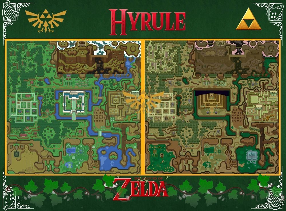 Details about Zelda MAP - A Link to the Past - Wall Poster - 22in x on