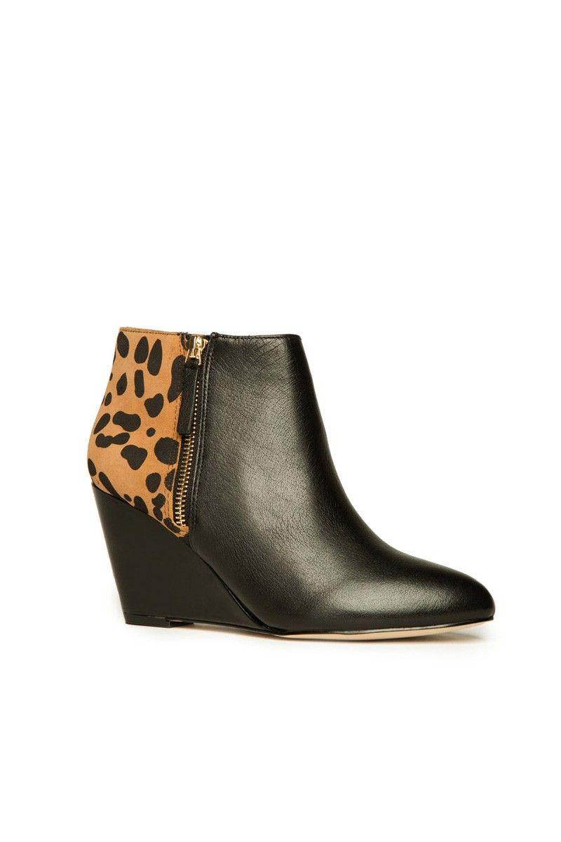 ShopSosie Style : Gino Ankle Boot in Black and Leopard DV by Dolce Vita...