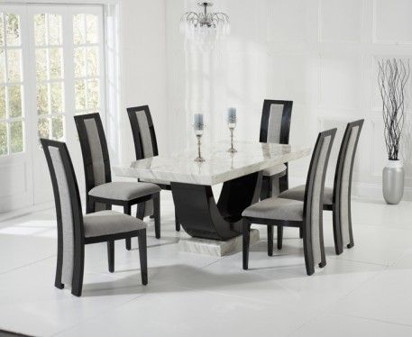 Raphael 170cm Cream And Black Pedestal Marble Dining Table With Chairs