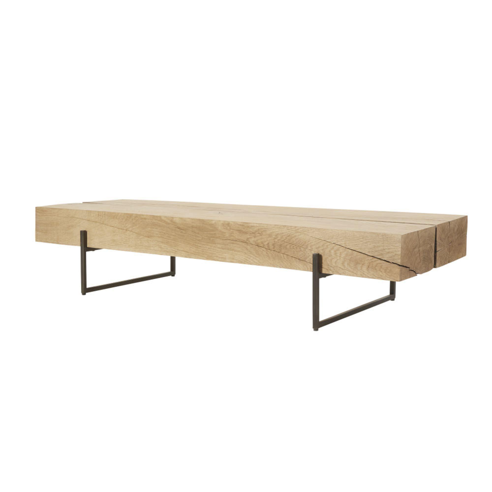 Tavolini Salotto Maison Du Monde.Tavolino Da Salotto In Legno Massello Di Quercia E Metallo Nero In