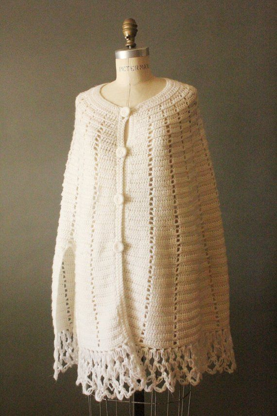 Vintage 60s Wool Shawl Fringe Crochet Cape Sweater Buttons