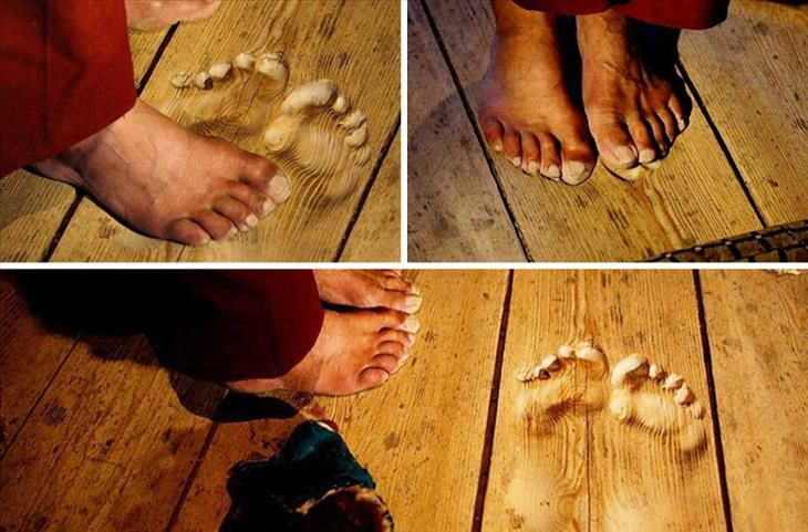 This monk wore his foot prints into the floorboards after years of praying at the exact same spot.