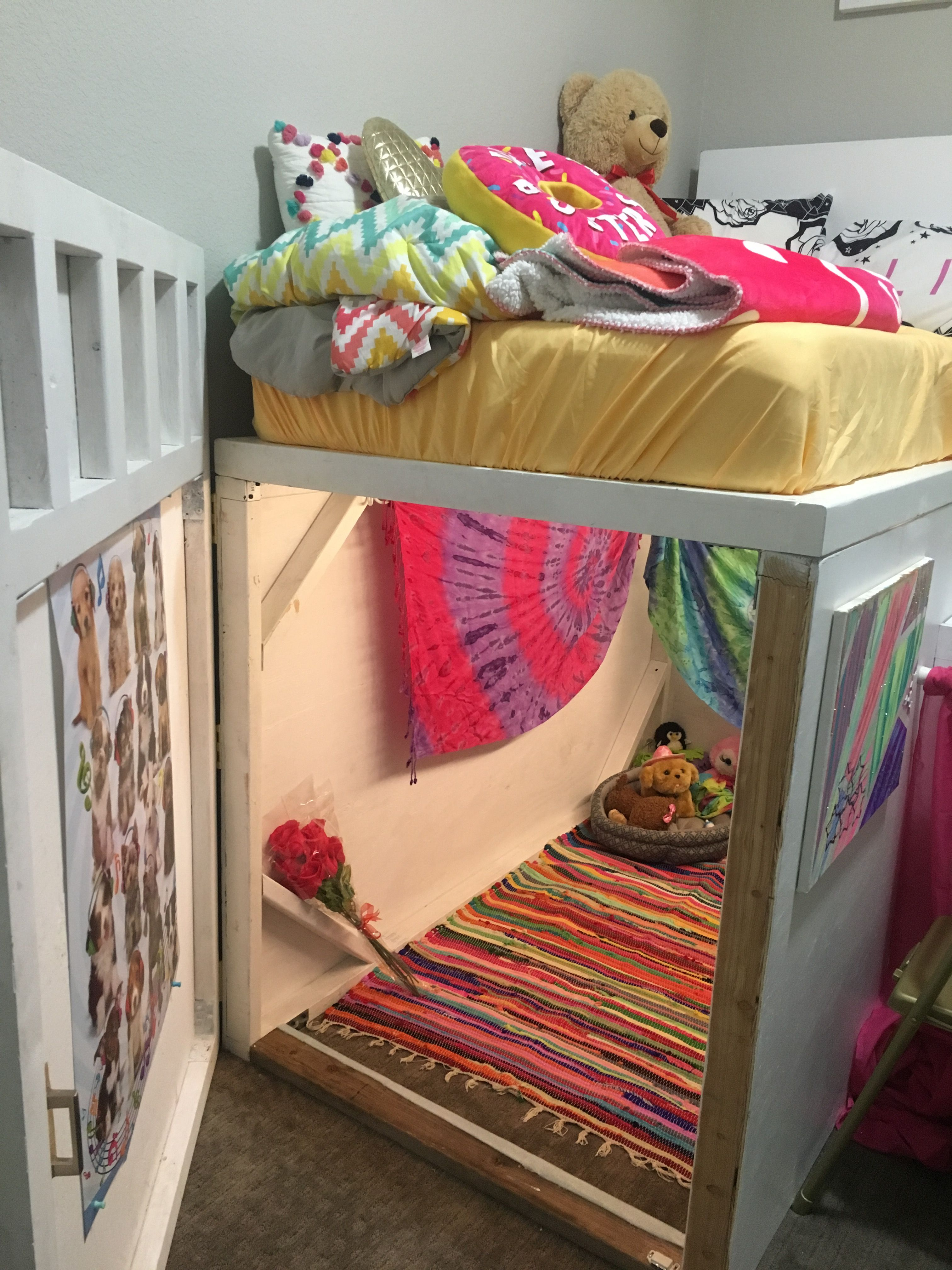 Awesome Spacesaver Bed With Hideout Hidden Underneath And Desk Made For My 10yearold Daughter Girls Loft Bed Diy Loft Bed House Bunk Bed