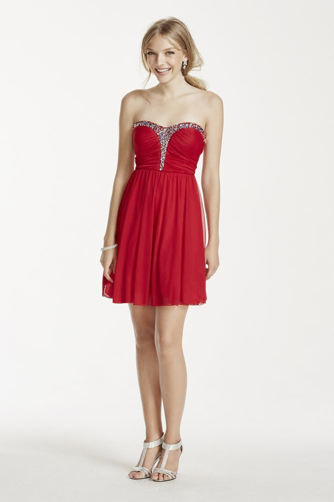 Rhinestone Embellished Short Mesh Dress - Red, 13 | *Clothing ...
