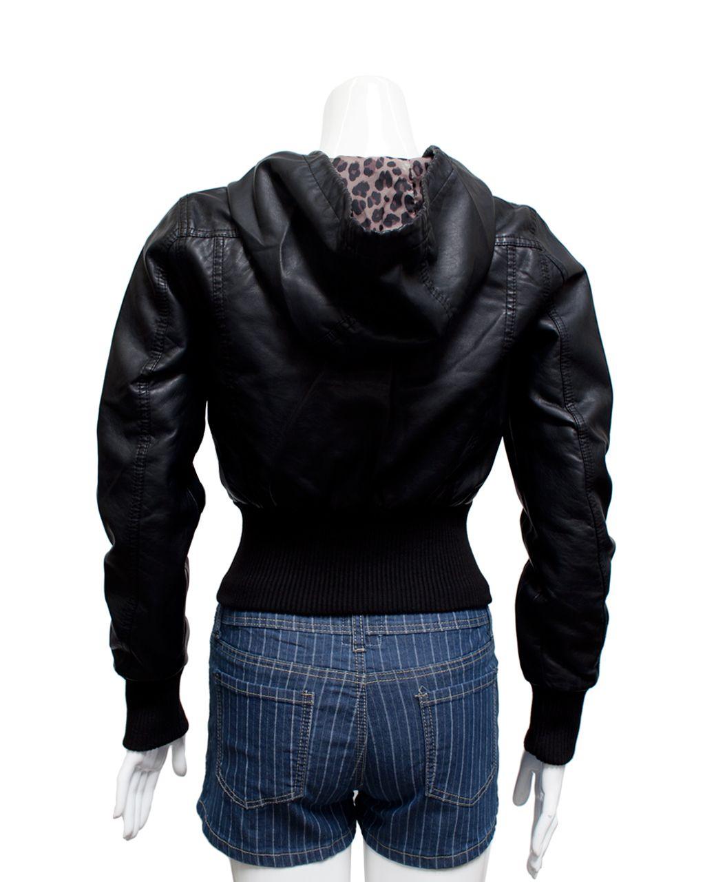 Hooded Synthetic Leather Jacket Jwpu625b Ambiance Hooded Synthetic