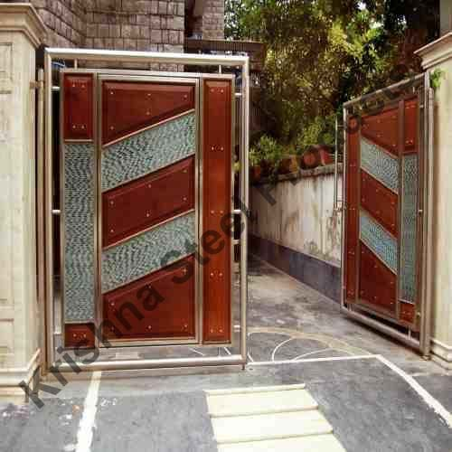 Stainless steel main gate with aluminium wood color design for Building main door designs