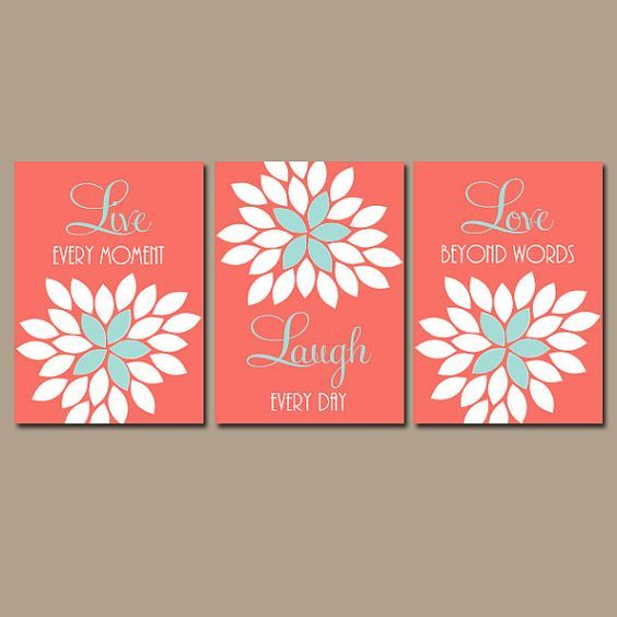 Superb Live Laugh Love, Coral Wall Art, Coral Nursery Decor, Baby Girl Nursery Wall  Decor, CANVAS Or Prints, Floral Home Wall Decor, Set Of 3 | Coral Wall Art,  ...