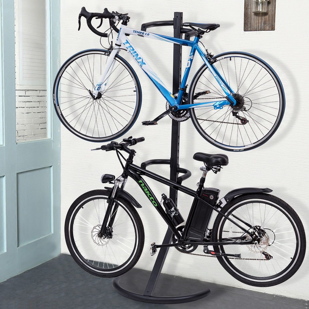 Freestanding Gravity Bike Stand Rack For Two Bicycles Bike Stand