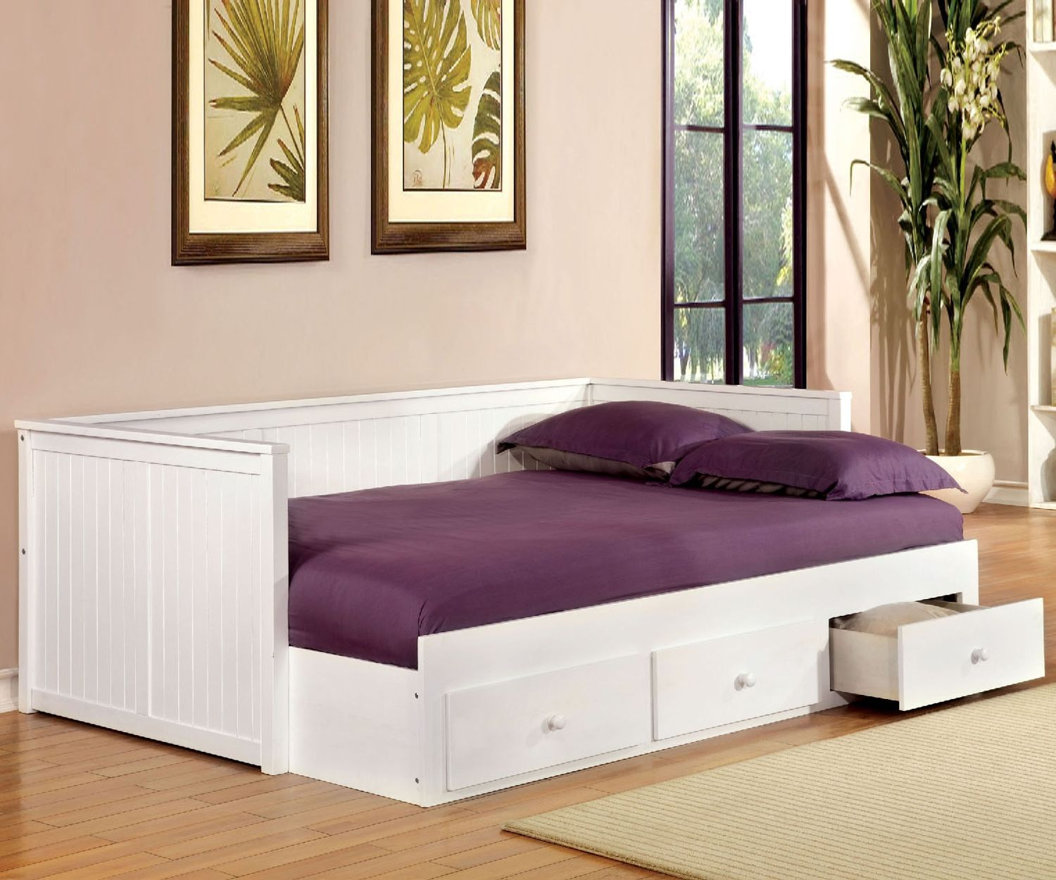 Daybed with trundle full size buy the furniture of america full size wolford daybed in white