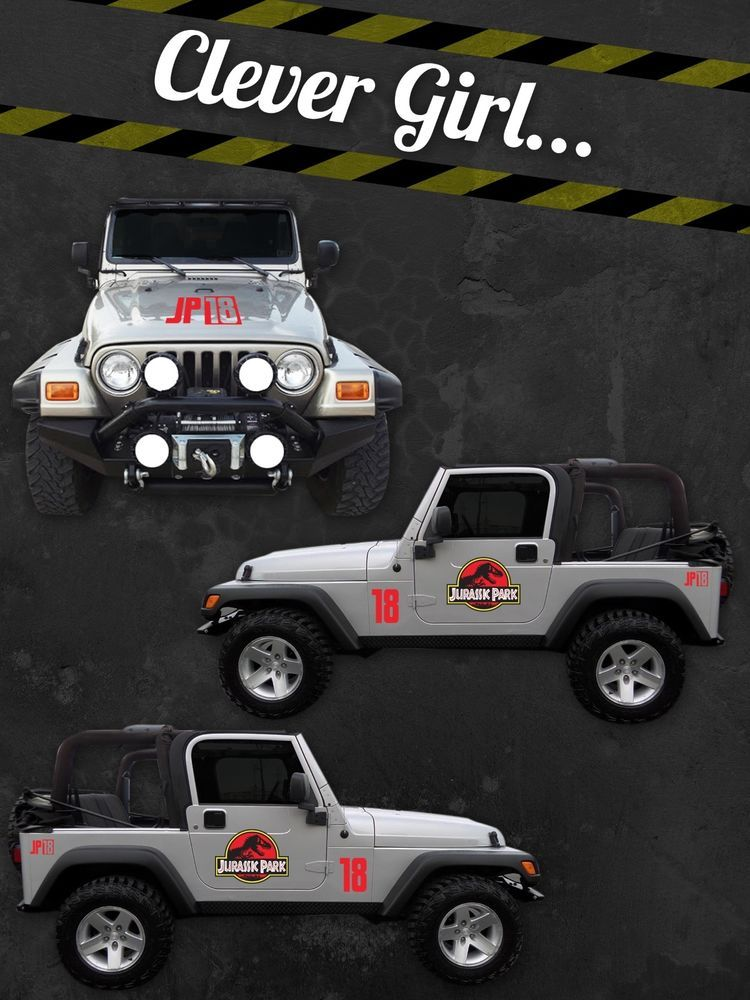 Jurassic Park Custom Jeep Safari Vinyl Decal Sticker Kit - Custom windo decals for jeepsjeep wrangler side decals and stickers jeep gear partsmods