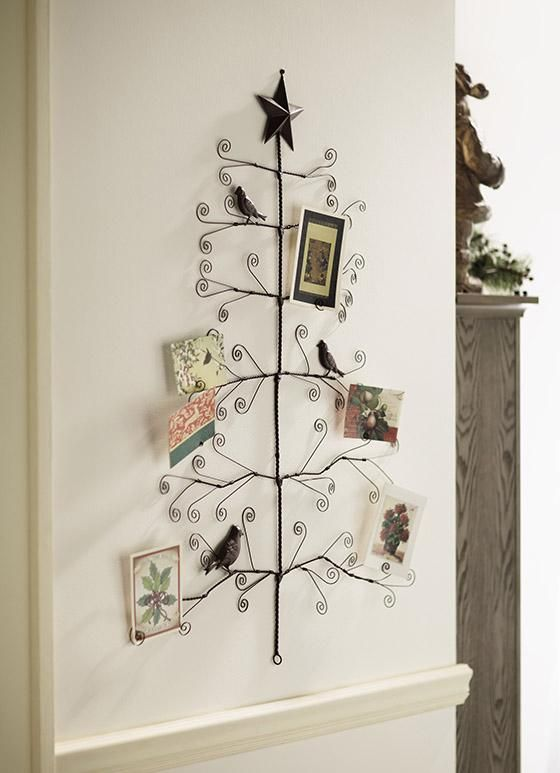 Large Bird Tree Photo Card Holder 41 H Wire Wall Mount Star