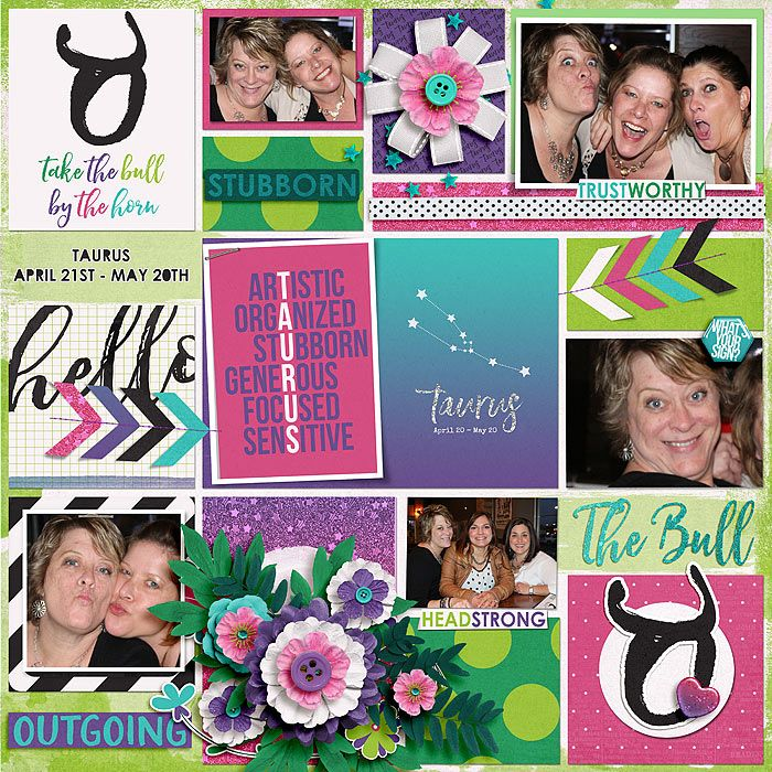 My Zodiac - Taurus: Bundle by Amanda Yi & Juno Designs: http://www.sweetshoppedesigns.com/sweetshoppe/product.php?productid=33989&cat=816&page=4 Juno's: http://shop.thedigitalpress.co/My-Zodiac-Taurus-Bundle.html My Arty Pockets 5 by Heartstrings Scrap Art: https://www.digitalscrapbookingstudio.com/personal-use/templates/my-arty-pockets-5/