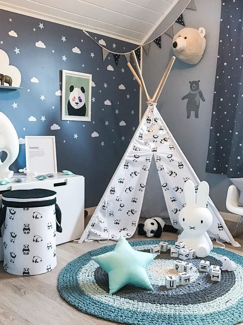 Kids tepee with pandas to buy on Etsy - HappySpaces workshop
