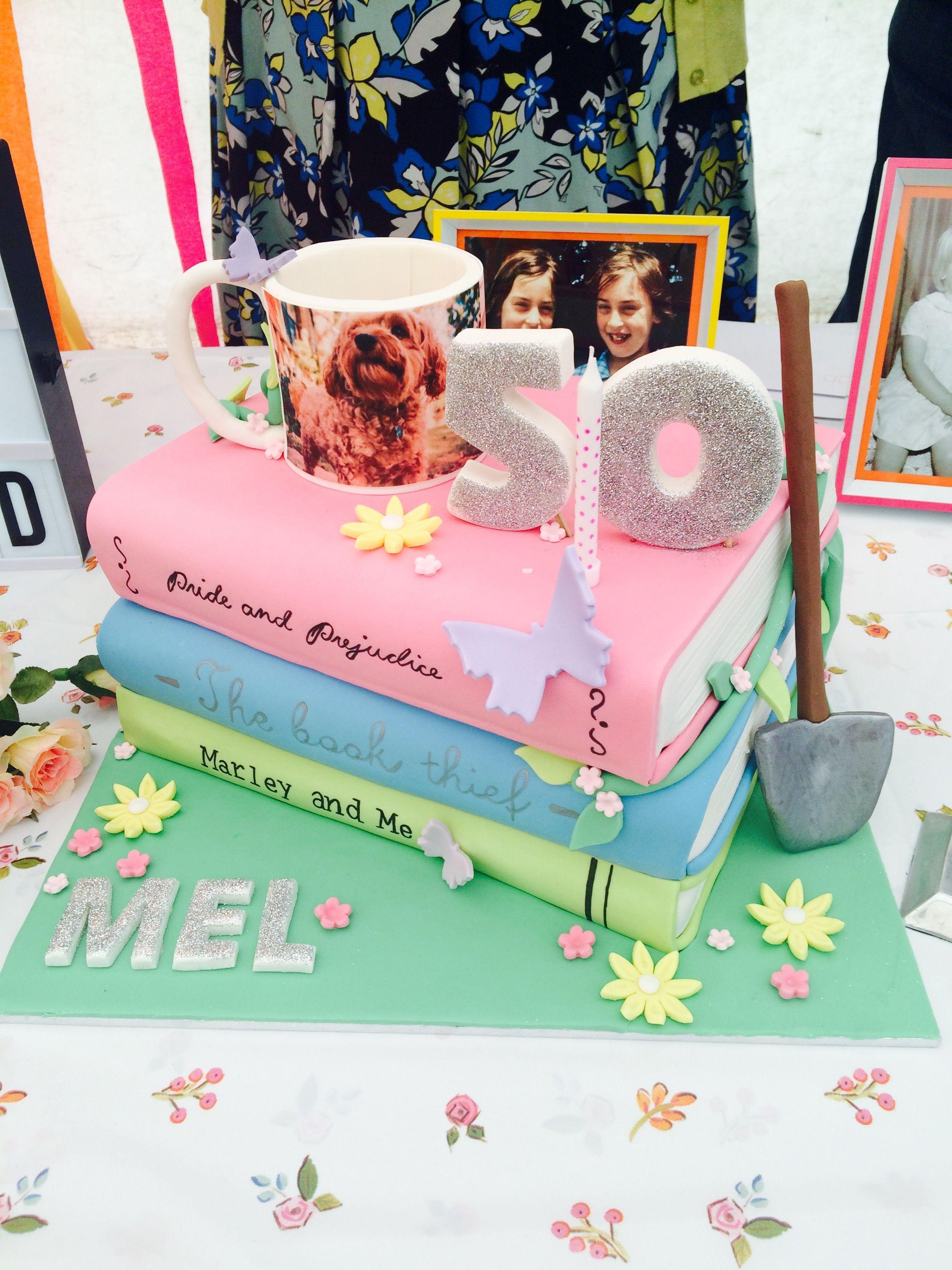 Mel\'s 50th birthday cake for the avid gardener, book reader & coffee ...