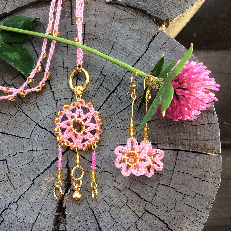 crocheted jewellery set, Sirkku Tuomela 2017