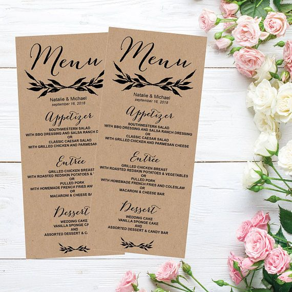 Rustic Kraft Printable Wedding Menu Template Weddings