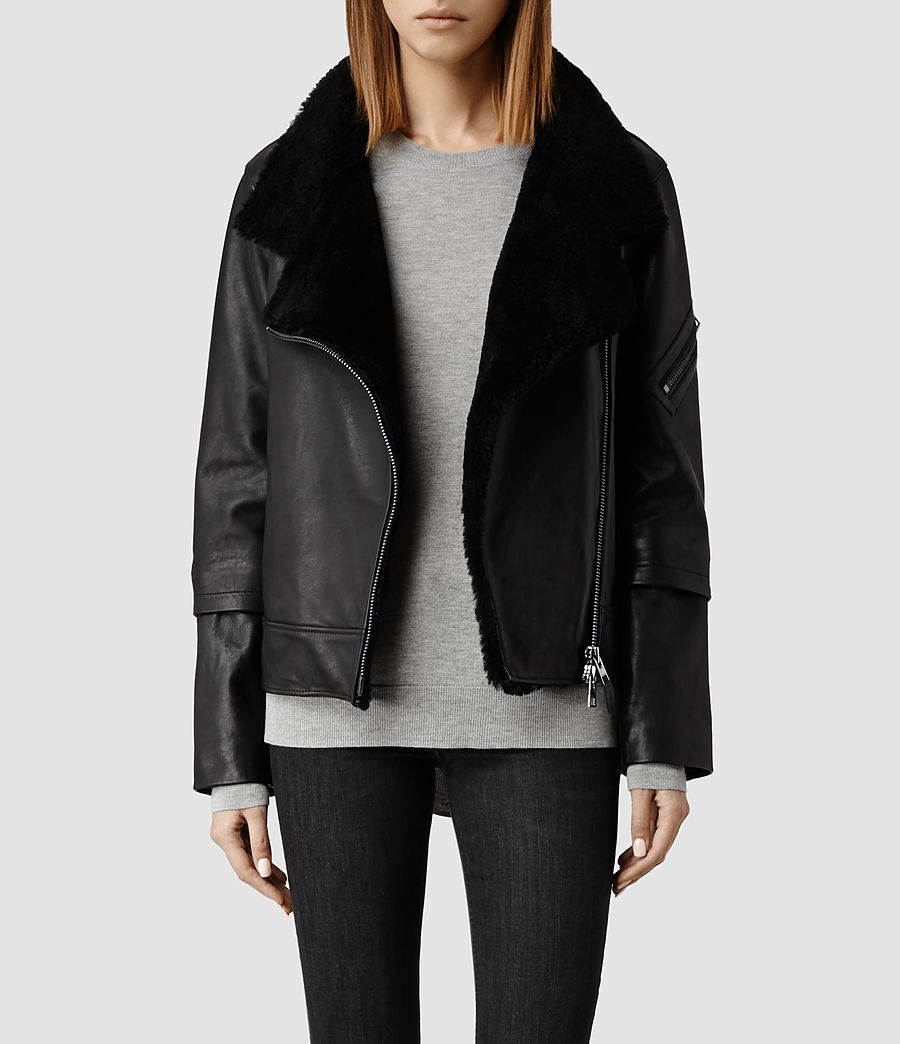 Womens Bayes Shearling Leather Jacket (Black ...