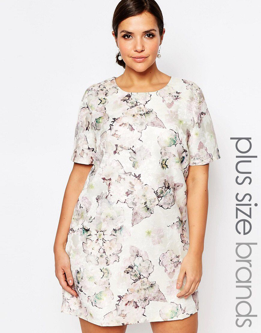 Truly You Floral Jacquard Short Sleeve Shift Dress At Asos Com Short Sleeve Shift Dress Plus Size Shift Dress Plus Size Outfits [ 1110 x 870 Pixel ]