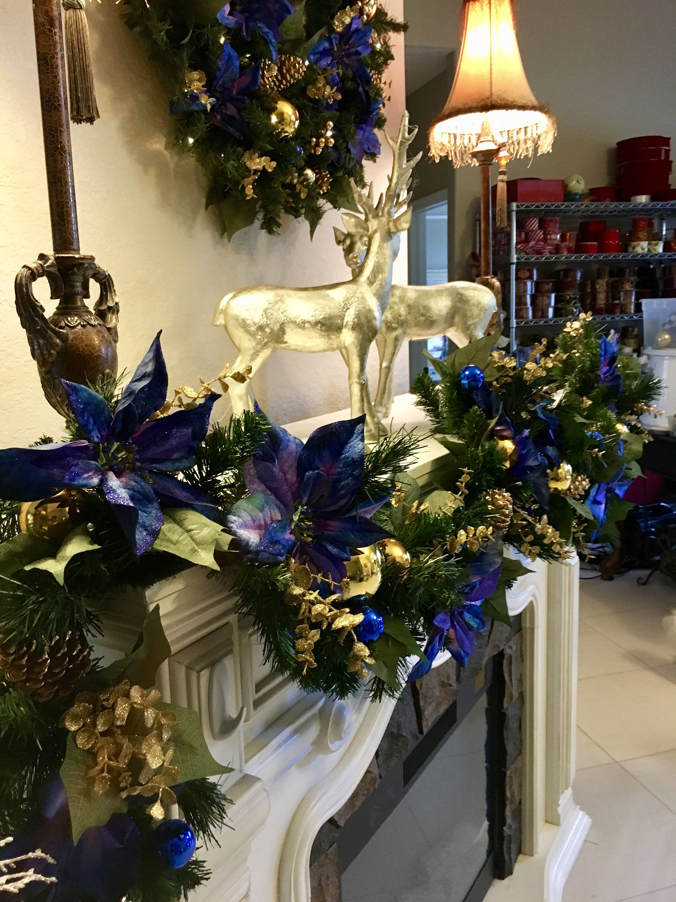 Christmas Wreath And Garland Set Of 2 Free Shipping Blue Etsy Christmas Wreaths Gold Christmas Decorations Christmas Garland