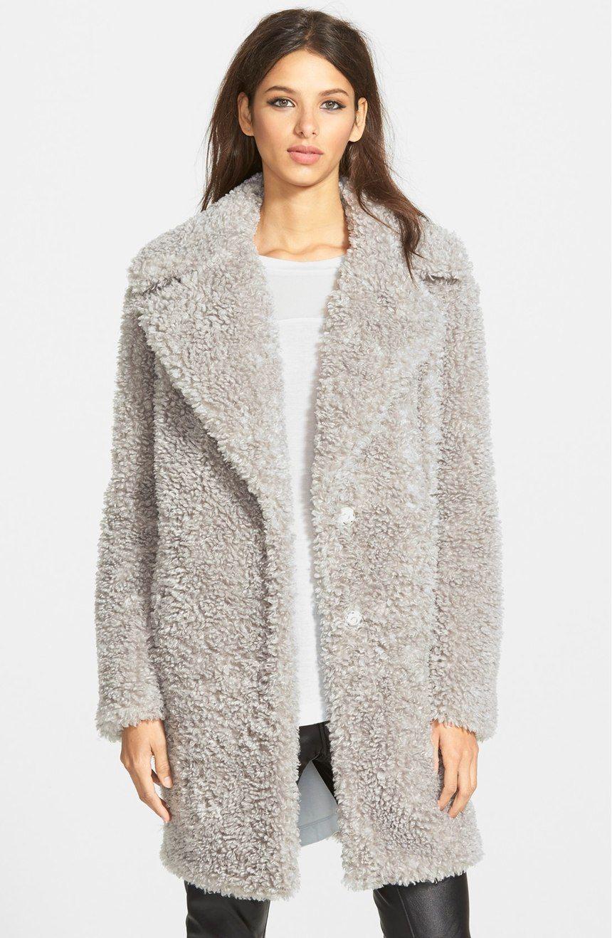 4d8ba8eeb79 Main Image - kensie  Teddy Bear  Notch Collar Faux Fur Coat (Online Only)
