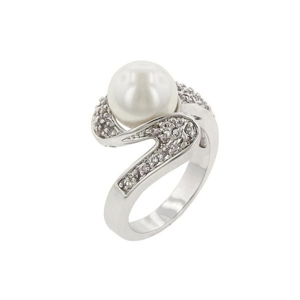 White Gold Rhodium Bonded Fashion Ring with White Pearl and Round Cut Clear CZ in a Pave Setting in Silvertone. Pearl Whirl Ring is ultra chic. White Gold Rhodium Bond is achieved using an electroplating process that coats the item with heavy layers of rhodium a close cousin of platinum that costs three times as much which gives our jewelry a platinum luster.