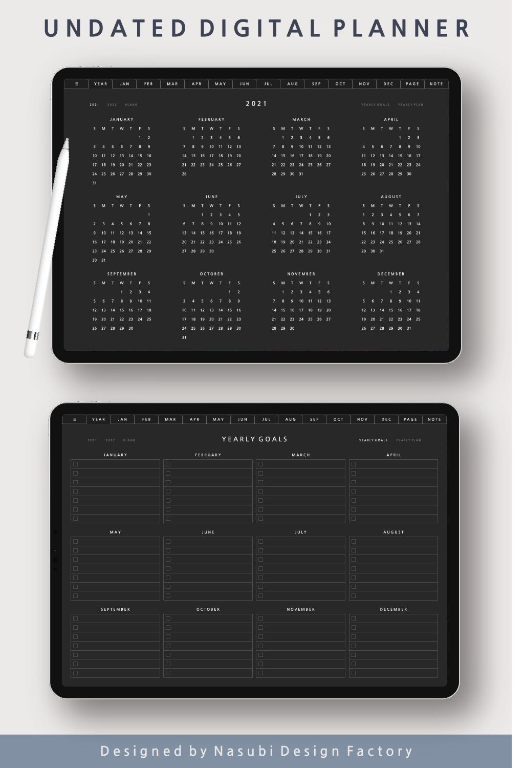 Dark Mode Undated Digital Planner Ipad Goodnotes Template Notability Hyperlinked Pdf Daily Weekly Monthly Yearly Digital Stickers In 2021 Digital Planner Digital Sticker Goals Planner