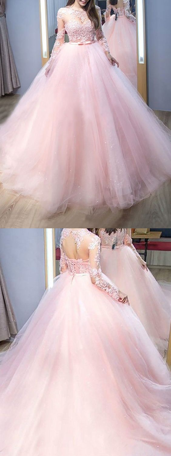 Elegant ball gown round neck lace pink long sleeves long prom