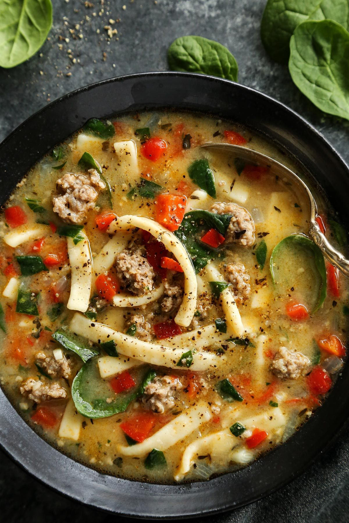 Sausage And Red Pepper Soup With Egg Noodles Recipe Stuffed Peppers Red Pepper Soup Egg Noodle Recipes