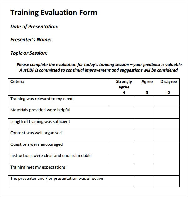 Training Evaluation Form Templates  Counseling