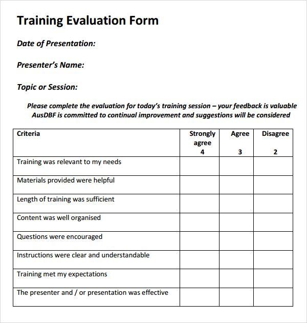 Training Evaluation Form Templates Evaluation Form