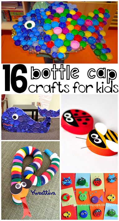 Plastic bottle cap milk cap lid crafts for kids to for Creative recycling ideas for kids