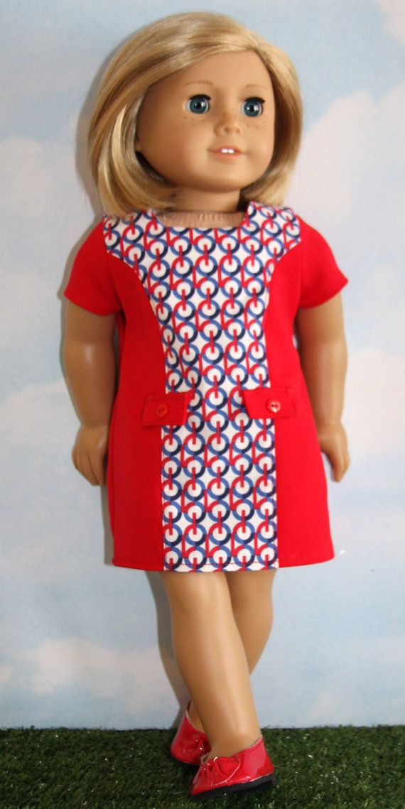 18 Inch Doll (like American Girl) Retro 60\'s Red Shift Dress with ...
