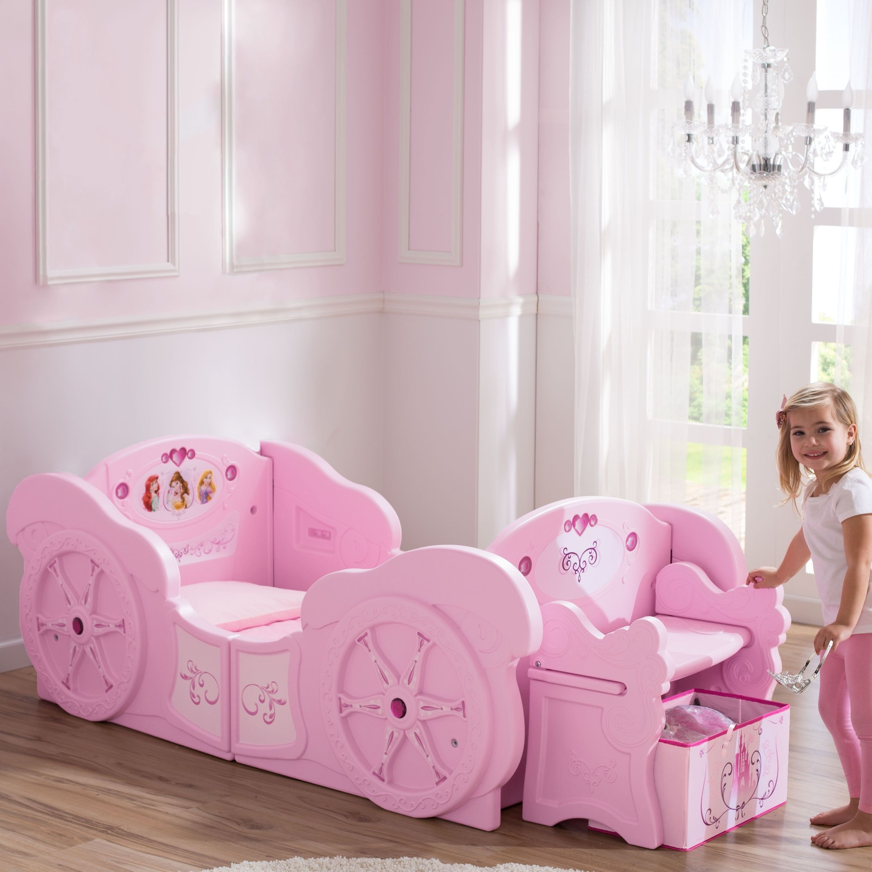 Disney Princess Carriage Toddler-to-Twin Bed, Pink