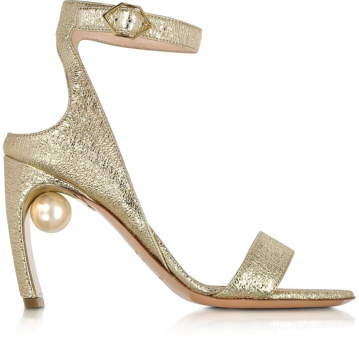 77d1180bdc4b Nicholas Kirkwood Crinkly Metallic Leather 90mm Lola Pearl Sandals ...