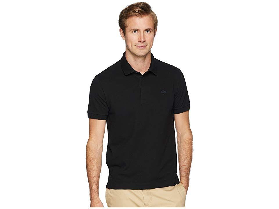 4ebb21d556 Lacoste Short Sleeve Solid Stretch Pique Regular (Black) Men's Short ...