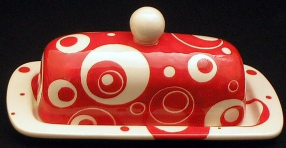 Ceramic Butter Dish in Retro Red and Black by