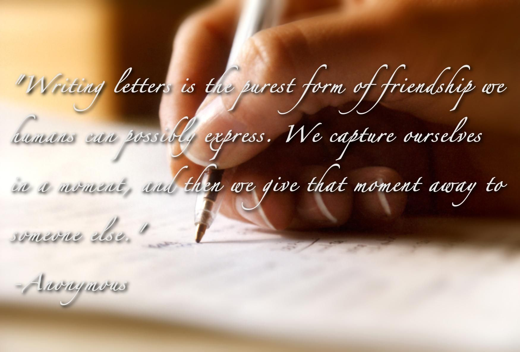 Writing letter is the purest form of friendship we humans can possibly express...  Like us on Facebook: https://www.facebook.com/aycarambagifts?ref=hl  #theartofwriting #aycarambabooks