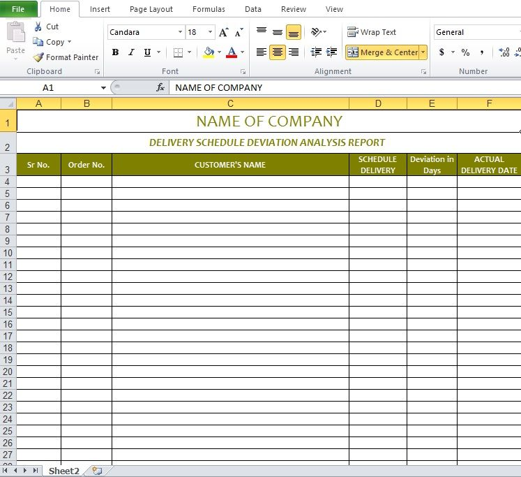 Delivery Schedule Template Excel Delivery Schedule
