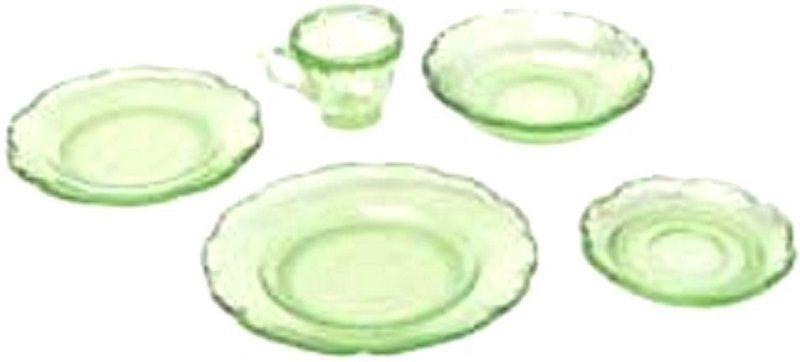 Dollhouse Miniature Chrysnbon 5 Piece Dish Set in Green Depression Glass #Chrysnbon