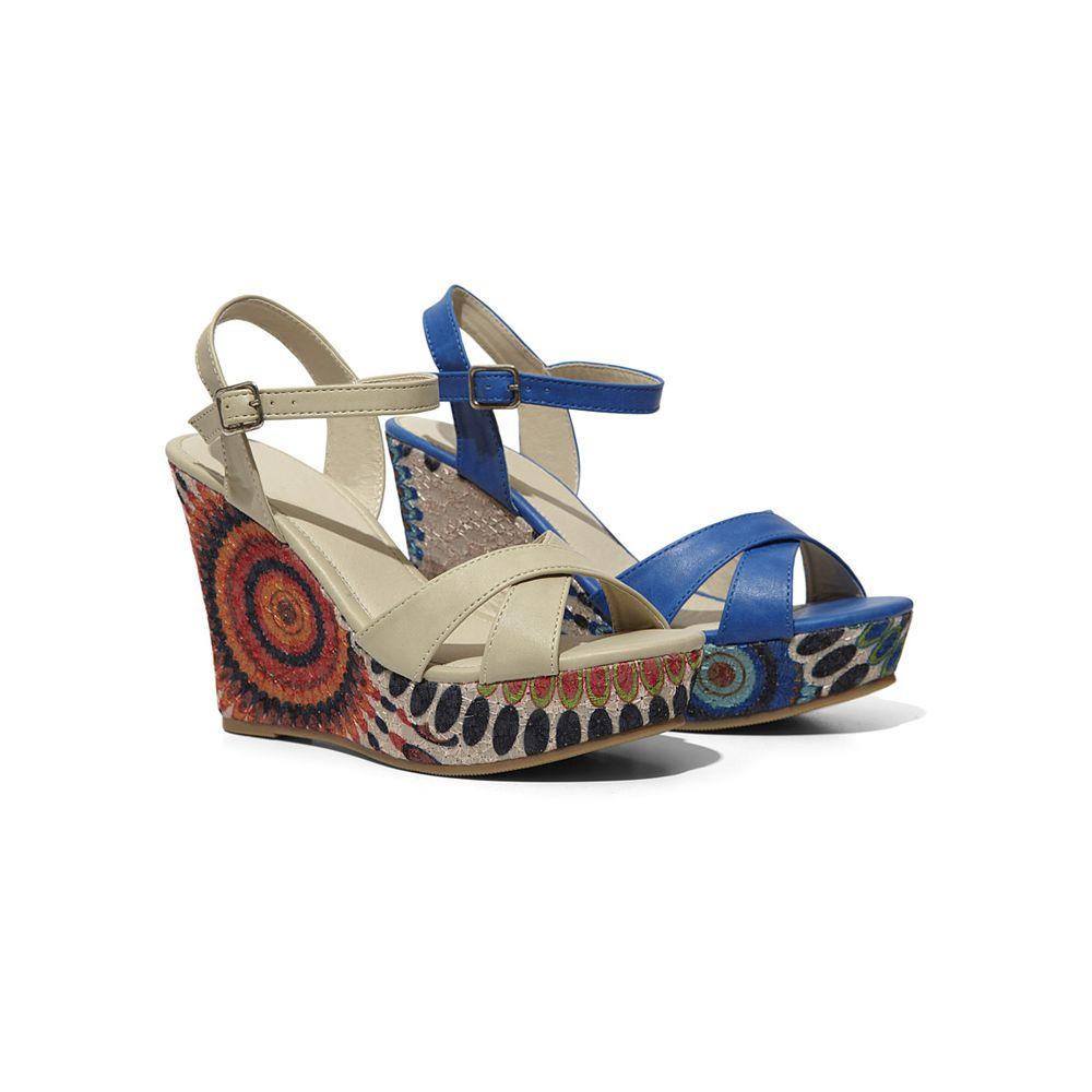 Sandalo Con Zeppa Fantasia Donna Collezione Scarpe Donna