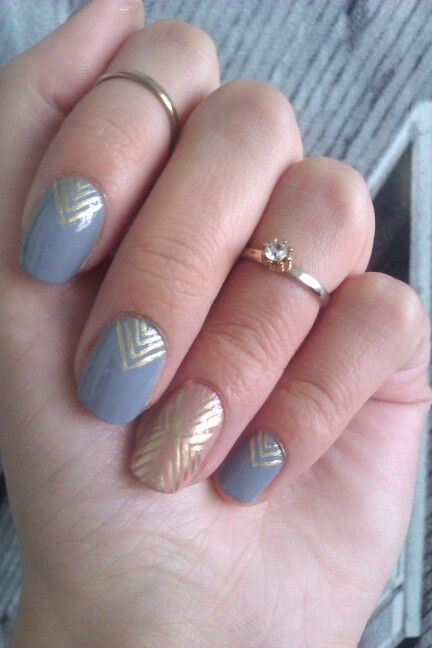 Art Deco Nail Art Tutorial Using Scotch Tape And Three Colors To