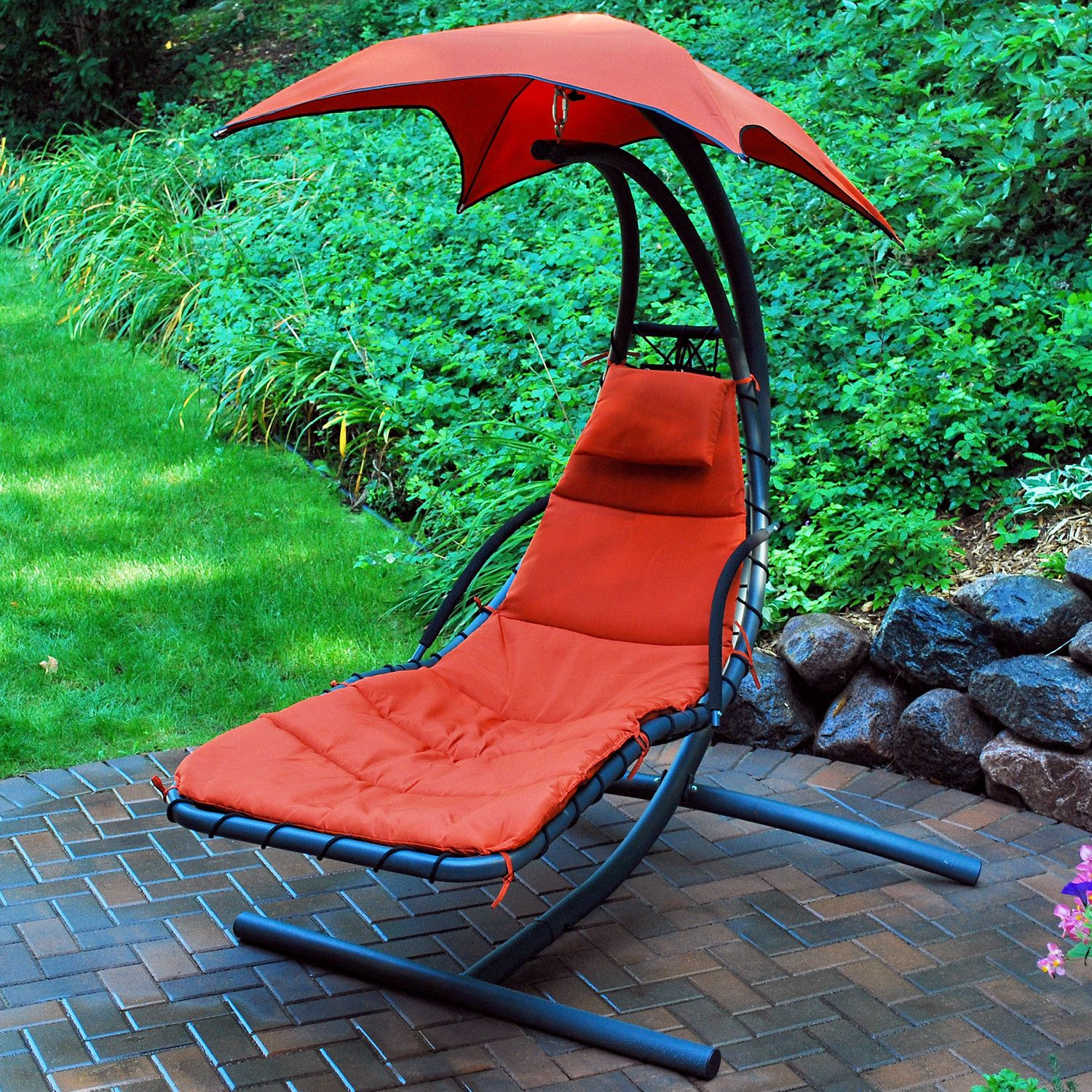 Hanging chaise lounge patio and yard hammock chair