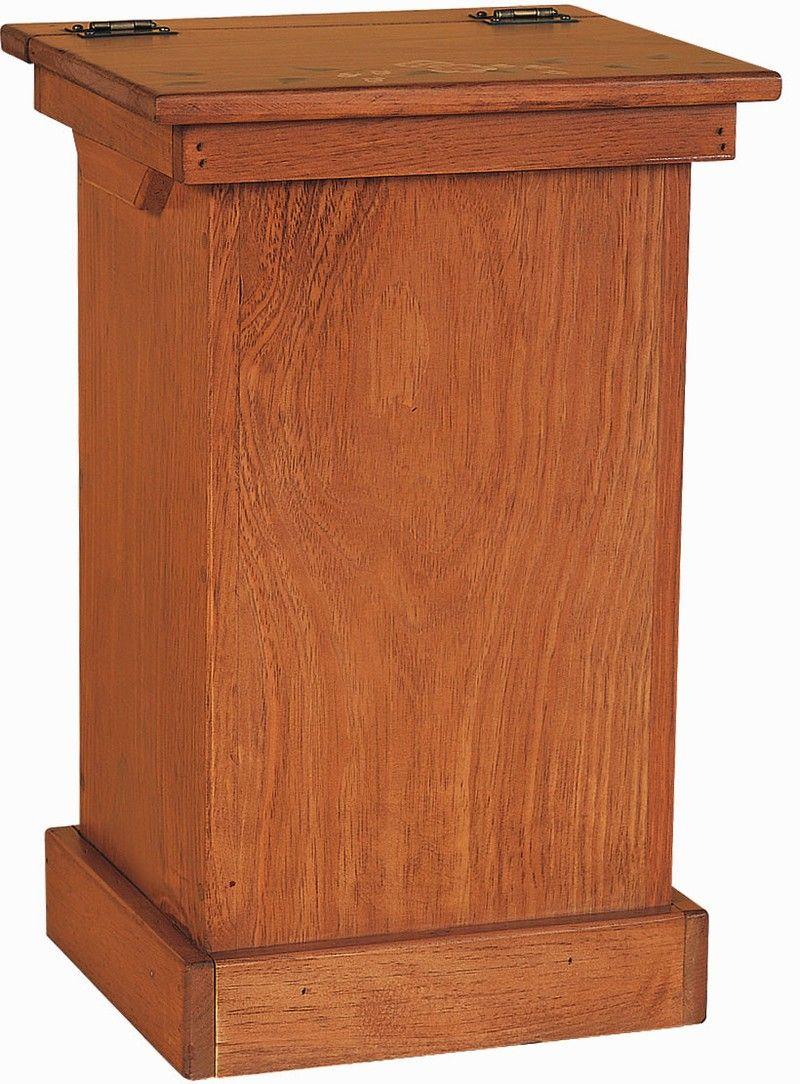 Amish Pine Wood Lift Top Trash Bin Cabinet